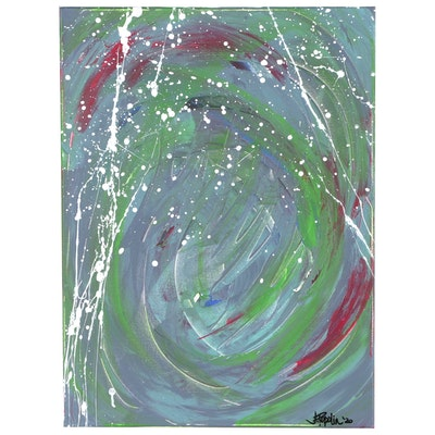 "J. Popolin Abstract Acrylic Painting ""White Rain"""