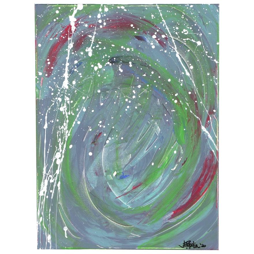 "J. Popolin Abstract Acrylic Painting ""White Rain"""