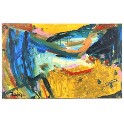 "Robbie Kemper Abstract Acrylic Painting ""Orange Curve Landscape"""