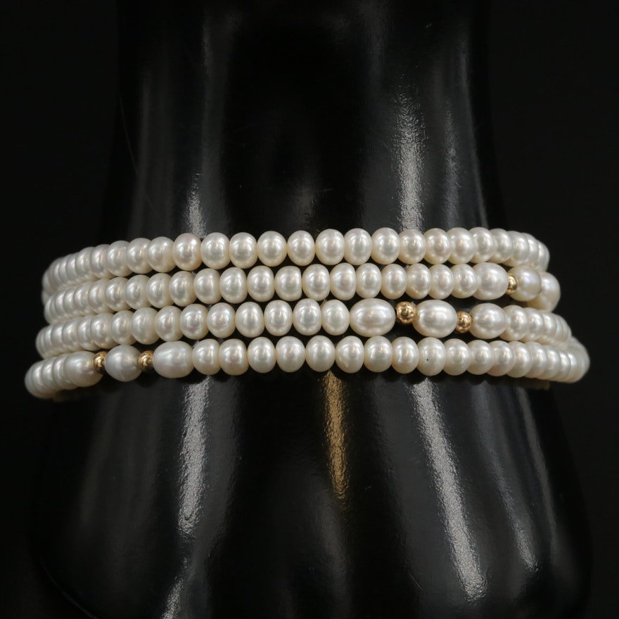 14K Yellow Gold Cultured Pearl Multi Strand Bracelet