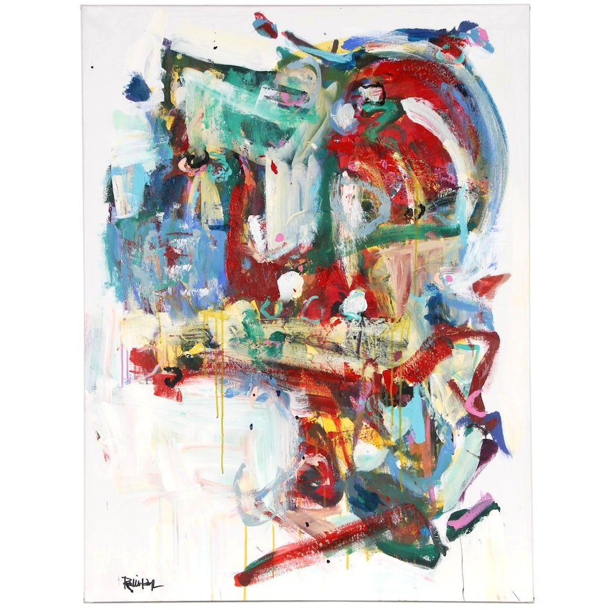 """Robbie Kemper Abstract Acrylic Painting """"Lots of Color Curves"""""""