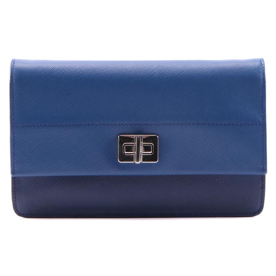 Prada Turnlock Crossbody Wallet in Bicolor Blue Saffiano Leather