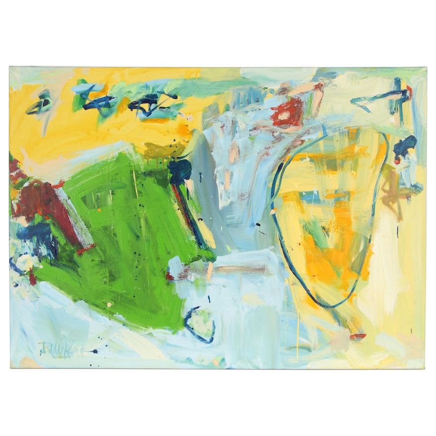 """Robbie Kemper Abstract Acrylic Painting """"Monumental Yellow Blue Green"""""""