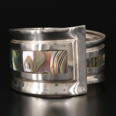 Mexican Sterling Silver Abalone Cuff Bracelet
