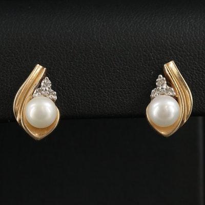 14K Yellow Gold Pearl and Diamond Drop Earrings
