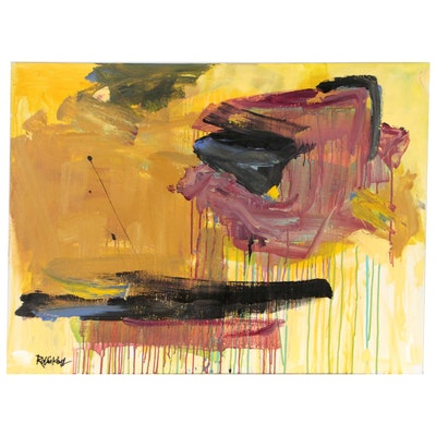 "Robbie Kemper Acrylic Painting ""Ochre with Black Stripe Runs"""