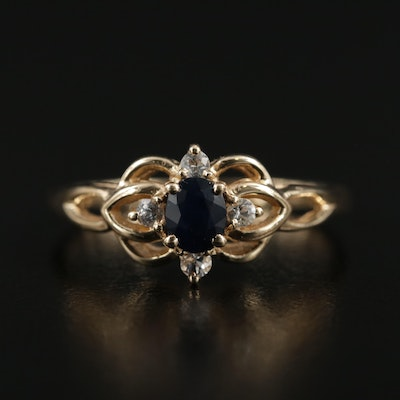 14K Yellow Gold Sapphire and White Sapphire Ring