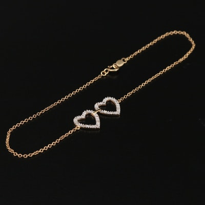 14K Gold Diamond Heart Bracelet