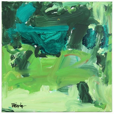 "Robbie Kemper Abtract Acrylic Painting ""Greens Mix"""