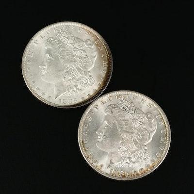 Two 1885-O Morgan Silver Dollars