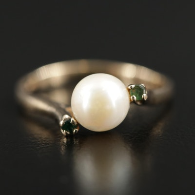 10K Yellow Gold Pearl and Emerald Ring