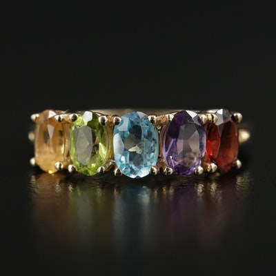 14K Gold Ring with Garnet, Amethyst, Topaz, Peridot and Citrine