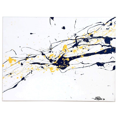"J. Popolin Abstract Acrylic Painting ""Gray Yellow Drips"""