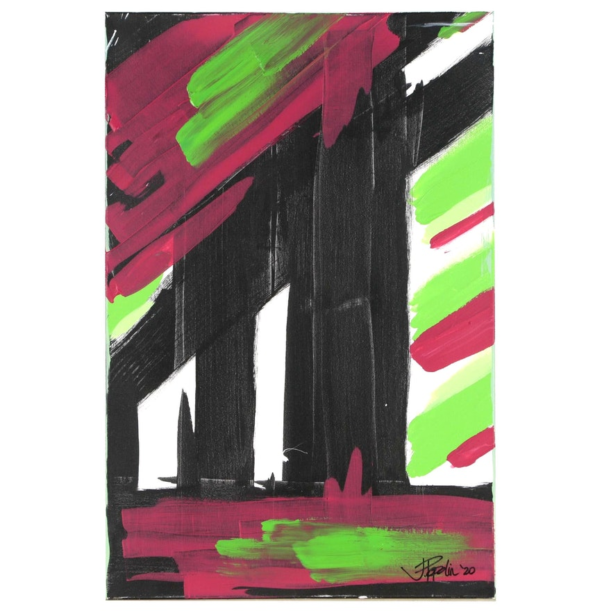 """J. Popolin Abstract Acrylic Painting """"Black Green Red"""""""