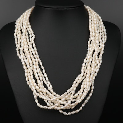 14K Gold Multi-Strand Pearl Necklace