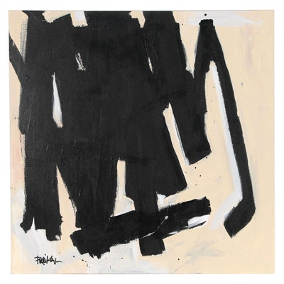 "Robbie Kemper Abstract Acrylic Painting ""Black on Tan"""