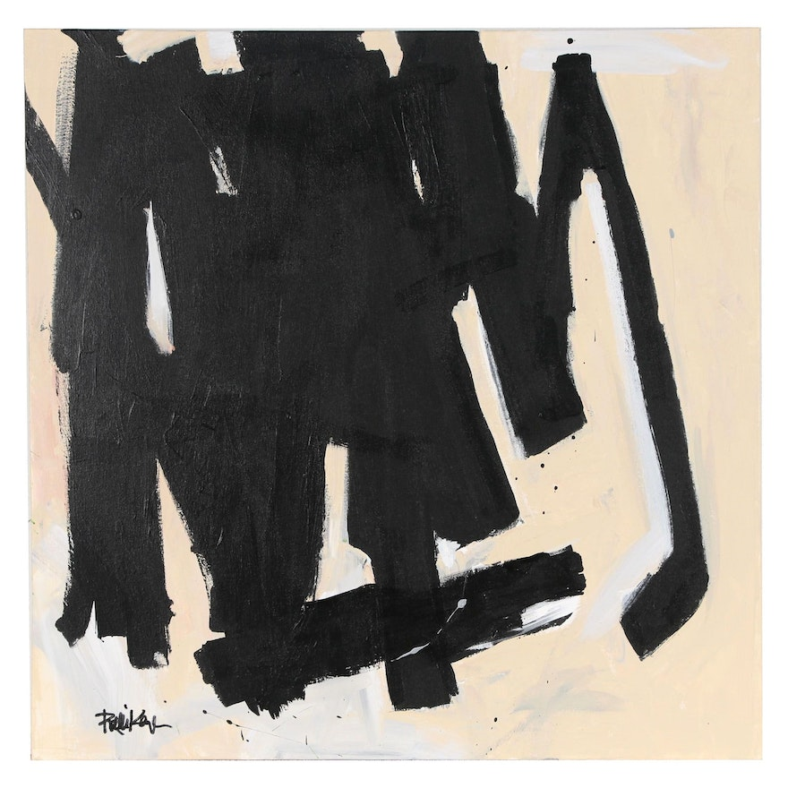 """Robbie Kemper Abstract Acrylic Painting """"Black on Tan"""""""