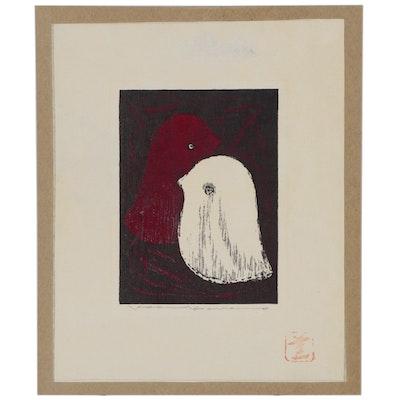 "Kaoru Kawano Woodblock ""Love Birds"""