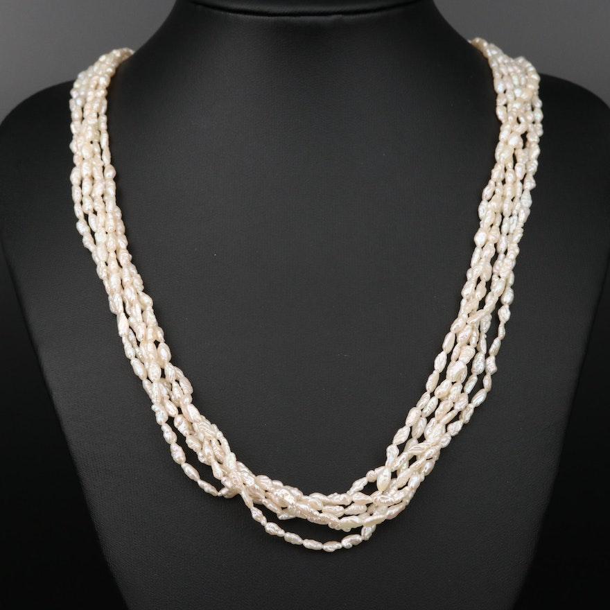14K Gold Pearl Multi-Strand Necklace
