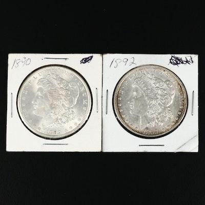 1890 and 1892 Morgan Silver Dollars