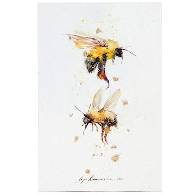 Inga Khanarina Mixed Media Painting of Bees