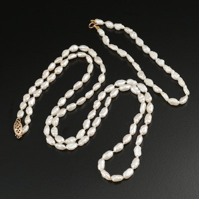 Pearl Necklace and Bracelet Set with 14K Yellow Gold Clasps