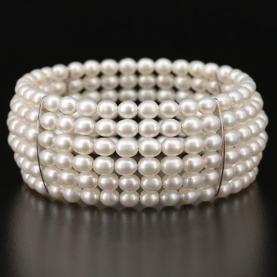 Sterling Silver Cultured Pearl Multi-Strand Bracelet