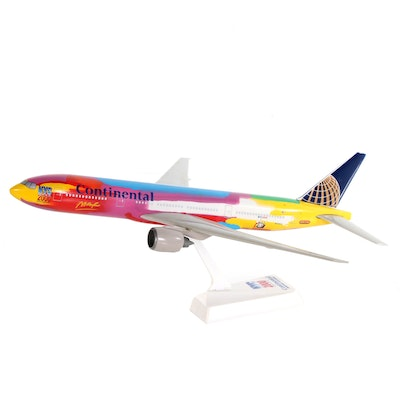 """""""NYC 2000"""" Continental Boeing Airplane Model, Peter Max Design"""