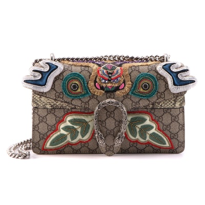 Gucci Embellished Dionysus Bag in GG Supreme Canvas and Python
