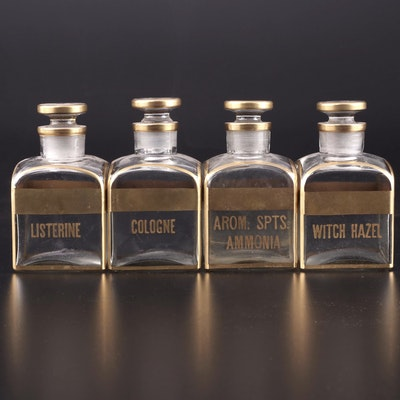 Matching Set of Labeled Glass Vanity Bottles, Mid to Late 20th Century