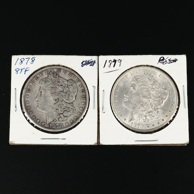 1878 8 Tail Feathers Variety and 1879 Morgan Silver Dollars