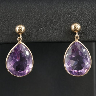14K Gold Amethyst Drop Earrings