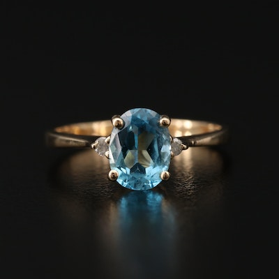 14K Yellow Gold Diamond and Topaz Ring