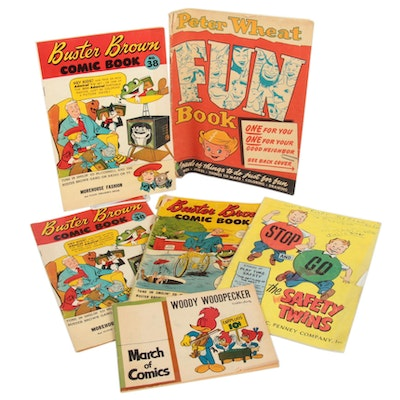 Woody Wood Pecker, Buster Brown, Peter Wheat and the Safety Twins Comics