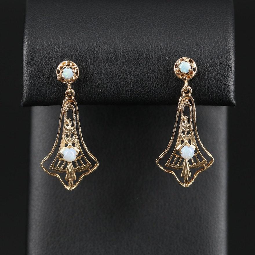 Antique Style 14K Opal Earrings
