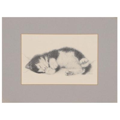 Halftone Print after Virginia Miller of Sleeping Kitten