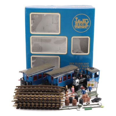 "LGB ""The Blue Train"" G Gauge Locomotive, Cars, and Track in Original Packaging"