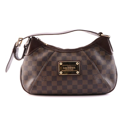 Louis Vuitton Thames Shoulder Bag in Damier Ebene Coated Canvas and Leather