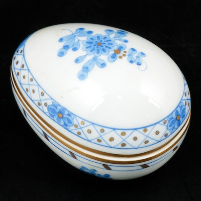 Herend Hand-Painted Porcelain Trinket Box with Floral Motif