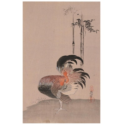 Nihon Shosui-sha Woodblock of Rooster