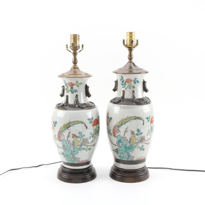 Pair of Chinese Hand-Painted Porcelain Table Lamps
