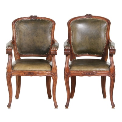 Pair of Louis XV Style Leather-Upholstered Armchairs