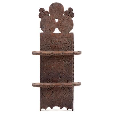 Dutch Carved Oak Wall Mounted Spoon Rack