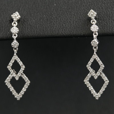 14K White Gold 0.38 CTW Diamond Drop Earrings