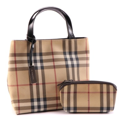 Burberry Coated Canvas Check Mini Tote with Zip Pouch
