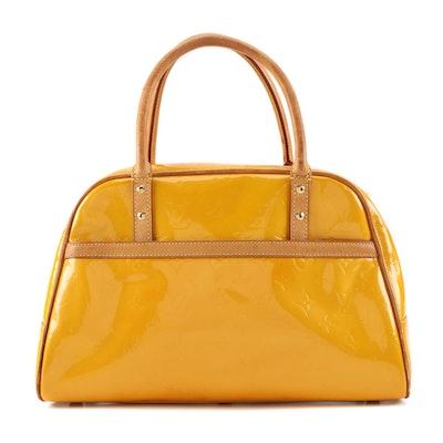 Louis Vuitton Tompkins Square Handbag in Monogram Vernis and Vachetta Leather