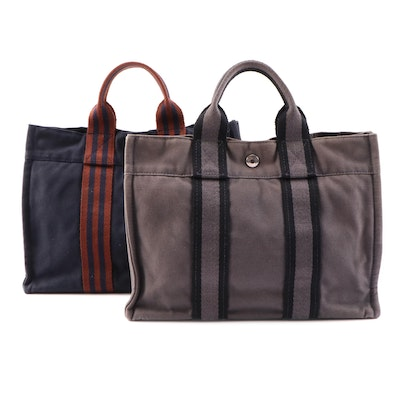 Hermès Fourre Tout Navy Blue and Gray Cotton Canvas Mini Totes