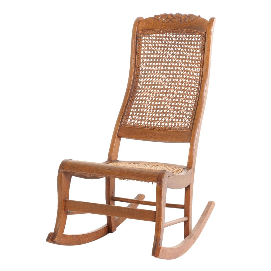 Victorian Oak Cane Upholstered Rocking Chair, Mid to Late 19th Century
