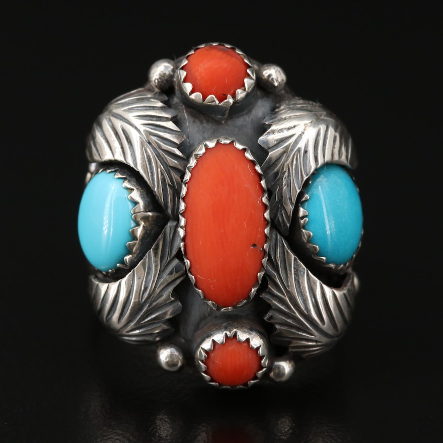 Southwestern Sterling Silver Turquoise and Coral Ring with Applique Work