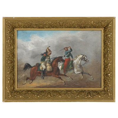Miniature Oil Painting of European Soldiers in Battle
